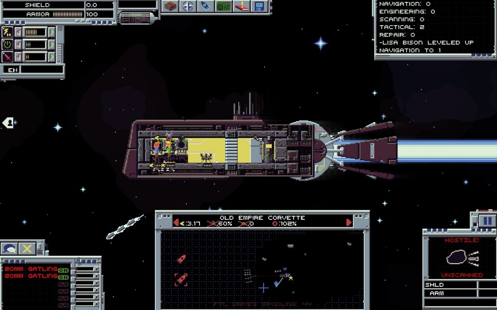 My brave starter crew, unfazed by the fact they're shooting blindly at things in space.